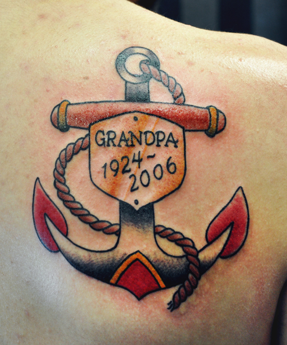 Memorial Tattoo of an Traditional Anchor