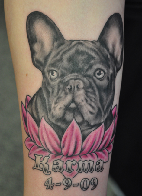 tattoo of a french bulldog named Karma in a lotus flower