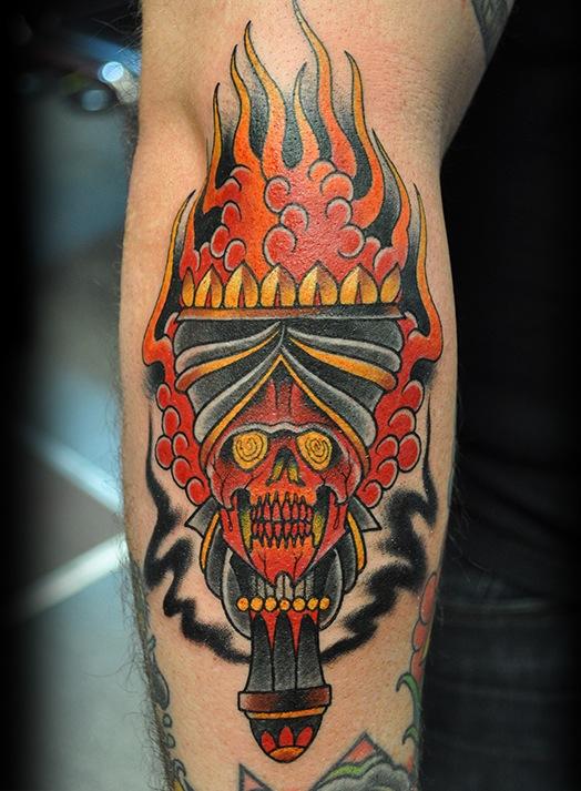 Torch tattoo by josh hoffman