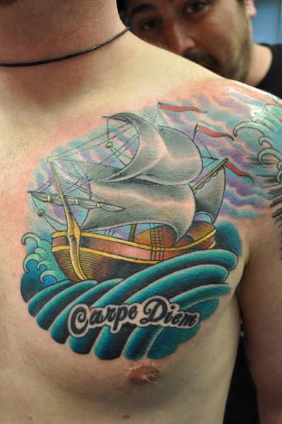 Ship Ocean and Sky Tattoo